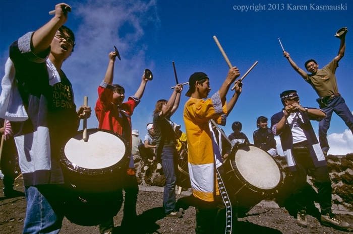 All sorts of strange things occur on the journey up Fuji, like these drummers who hiked to the top, played furiously for 15 minutes, then headed back down the mountain