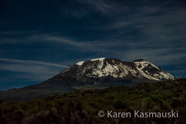 Mt. Kilimanjaro bathed in moonlight at 2:30 am.
