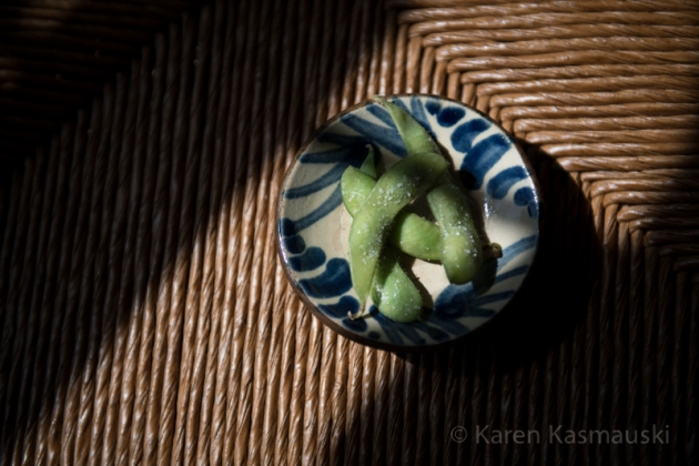 Edamame-soybeans boiled in salted water--is a tasty side dish with the soup.