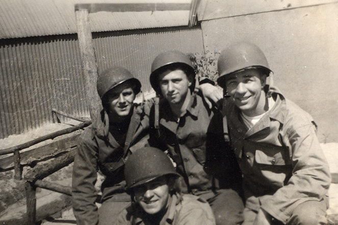 My father, Steve, (center) mugging with buddies during WWII. Family Photo