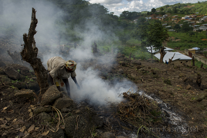 Near Kabala in the Northern Province, a farm family slashes and burns their property to clear the land for peas and cassava.