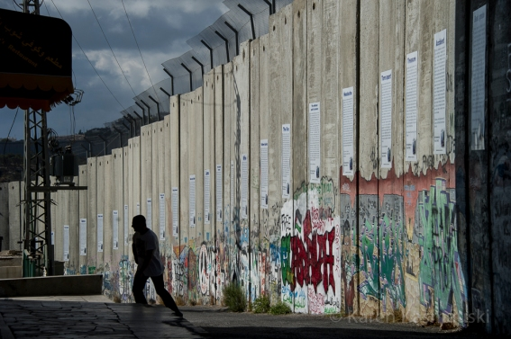 The border wall that separates Bethlehem from  Israel.