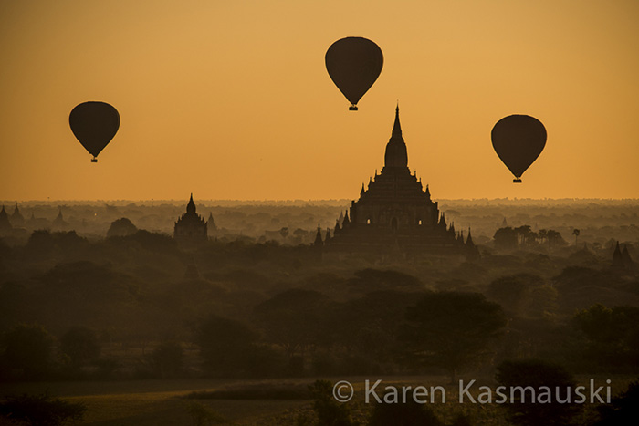 Sunrise at the Shwe San Daw pagoda in Bagan begins  with balloon flights over the temples.