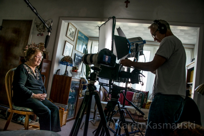"My mother being filmed for the documentary ""Fall Seven Times, Get Up Eight."""