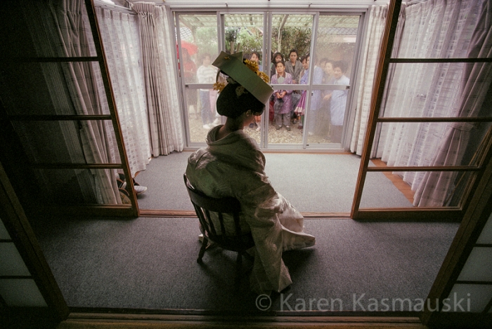 From the 1990, National Geographic story,  Japanese  Woman, a young bride is on  display to her neighbors before she marries.