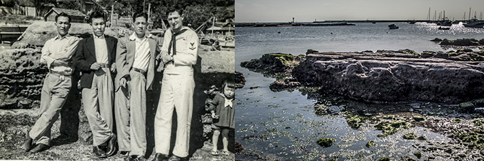 Left, my father, Steve Kasmauski with three brothers in law, by the beach in Sajima. Right, the same scene today.