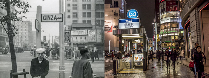 Left my father Steve on a street corner in Tokyo's Ginza district.  Right, the same area today.