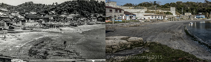 Left, the beach at Sajima, right, the same area today.
