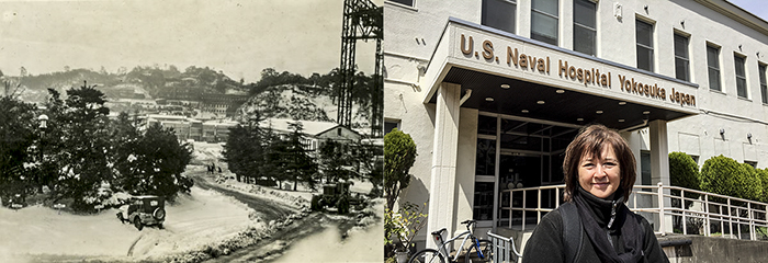 Left, Yokosuka Naval Base in the early 1950s where I was born. Right, me in front of the Naval hospital today.